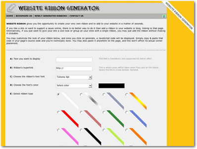 Free Website Ribbon Generator